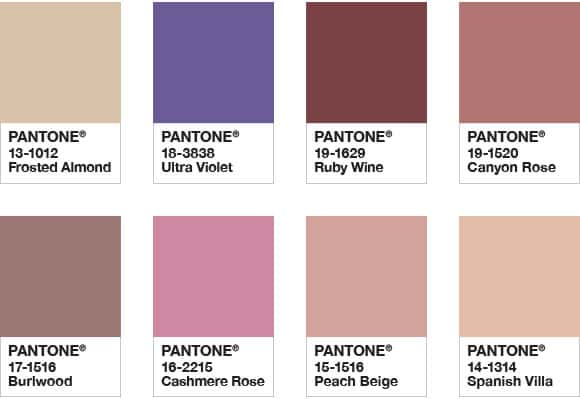 Pantone Palette Quietitude colore dell'anno 2018